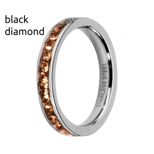 MELANO PIERŚCIONEK EVA CZ FRIENDS M01R 4993 SS BLACK DIAMOND